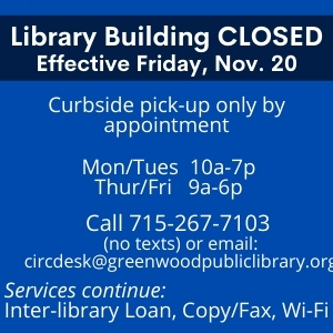 Greenwood Closed: Curbside pick-up only by appointment every Monday and Tuesday 10am - 7pm and Thursday and Friday 9am - 6pm
